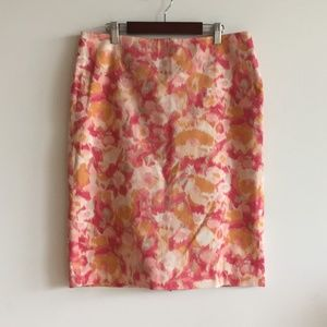 Talbots Watercolor Pencil Skirt Floral Size 6